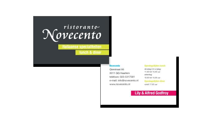 Novecento | Visitekaart